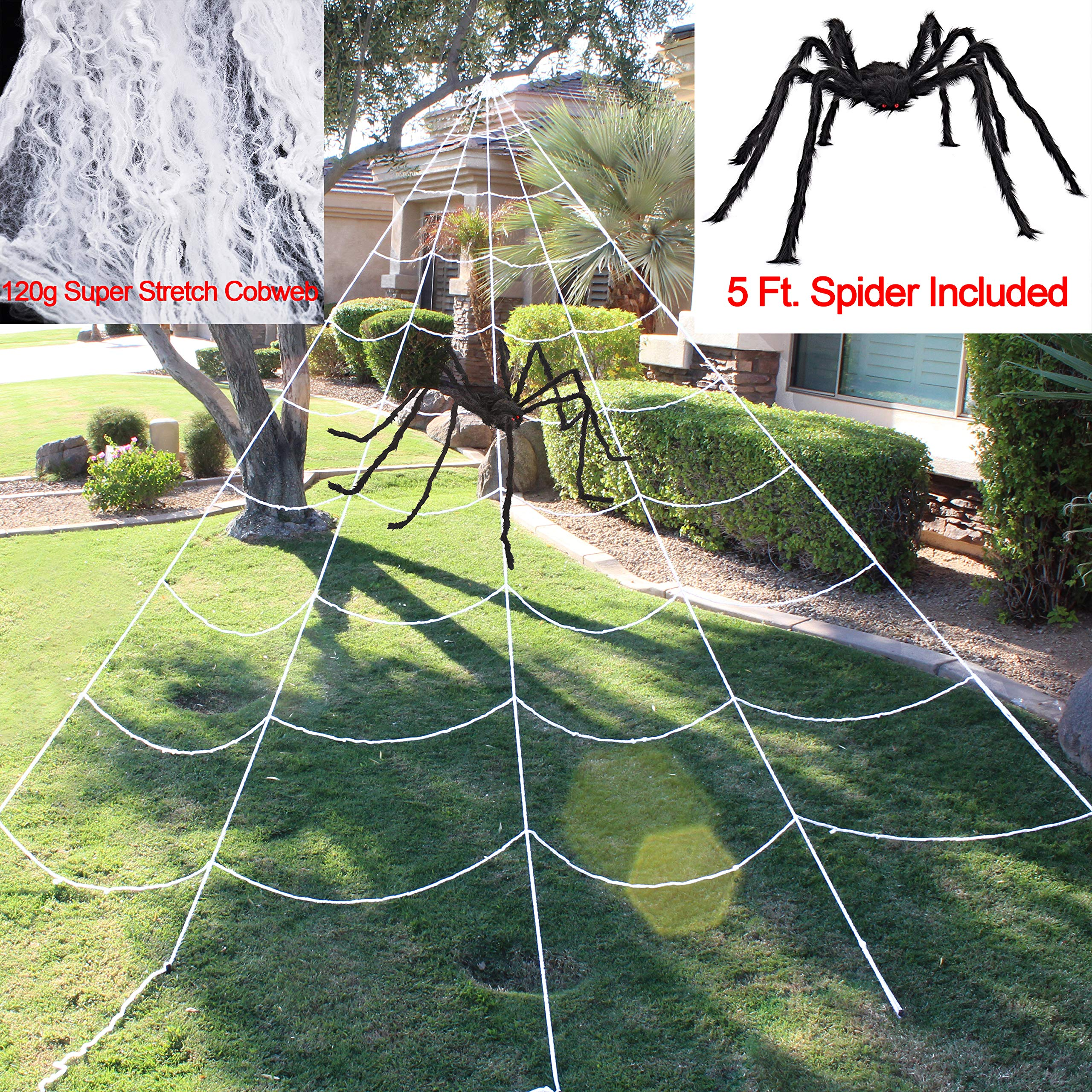Halloween Giant Spider Web Set Includes 5 ft Spider, 23 x 18 ft Large Web and 120g Stretch Cobweb for Halloween Outdoor Decorations by JOYIN