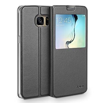 doupi Deluxe Ventana FlipCover para Samsung S7 Edge, Carcasa Case magnético Funda Caso tirón Estilo Libro Protector de Cuero Artificial, Negro