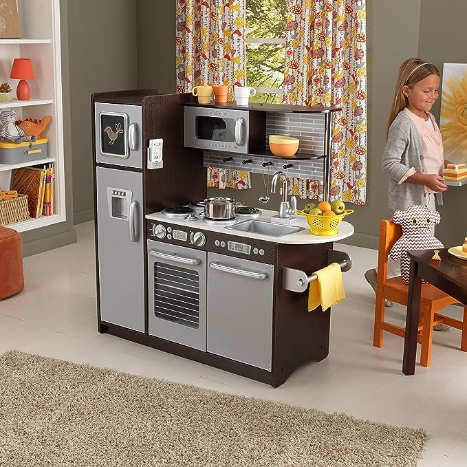 KidKraft 53260 Cocina de juguete Uptown de madera para niños con pizarra y teléfono de juguete incluidos - Color café