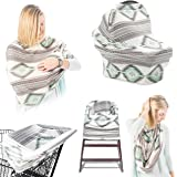 Premium 5-in-1 Breastfeeding Cover Up & Nursing Poncho/Baby Car Seat Covers/ Shopping Cart Cover For Baby/ Universal High Chair Cover, Perfect Baby Shower Gifts for Boys & Girls
