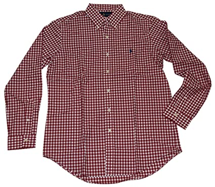296ced4e7 Image Unavailable. Image not available for. Color  Ralph Lauren Polo Mens  Button Down Dress Shirt Gingham Plaid Check Red Large