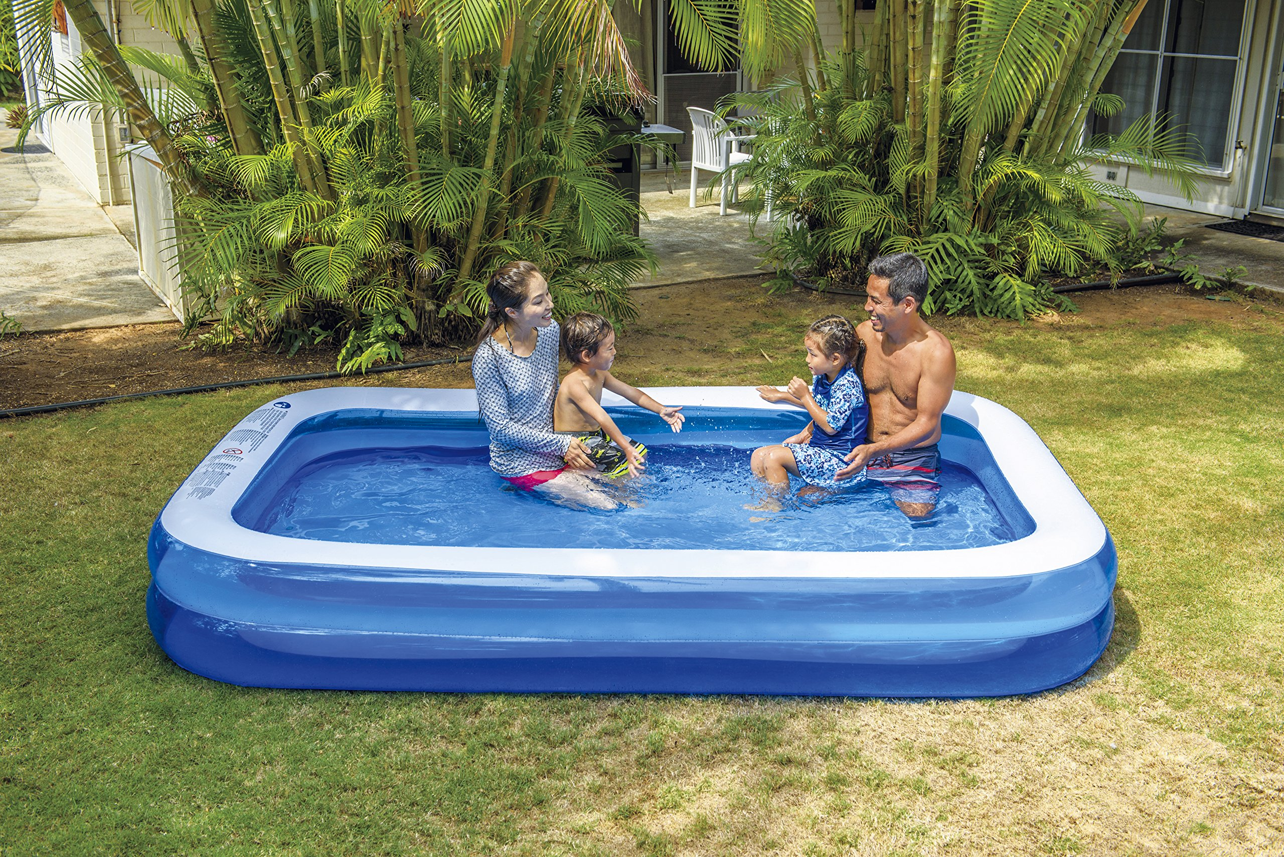 Giant Inflatable Kiddie Pool - Family and Kids Inflatable Rectangular Pool - 10 Feet Long (120'' X 72'' X 20'')