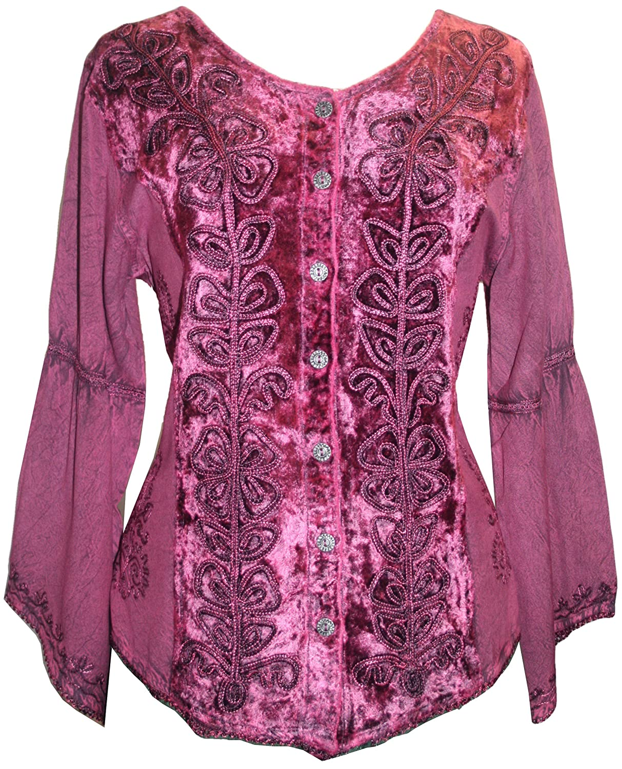 504 B Womens Renaissance Vintage Gothic Velvet Button Down Embroidered Shirt Top Blouse