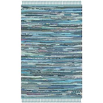 Amazon Com Safavieh Rag Rug Collection Rar121b Hand Woven Blue And