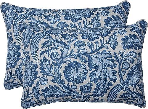 Pillow Perfect Outdoor Indoor Tucker Resist Azure Oversized Lumbar Pillows, 24.5 x 16.5 , Blue, 2 Pack