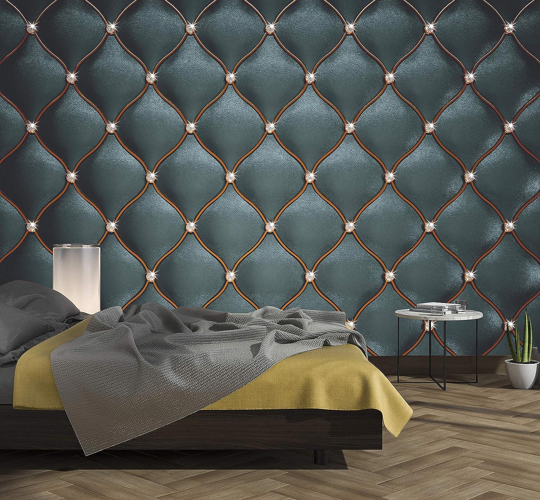 murimage Papel Pintado Cuero Negro 274 x 254 cm Incluye Pegamento Fotomurales imitación de piel lujo óptica 3D diamantes brillo acolchado dormitorio