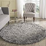 Safavieh Faux Silky Sheepskin FSS235D Grey Round Area Shag Rug (4u0027 Diameter)