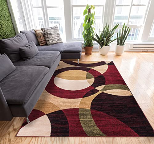 Well Woven Casual Modern Styling Shapes and Circles Area Rug 5×7 5' x 7'2'' Multi Color Red Black Beige Thick and Soft Pile Easy Care Pile Suitable