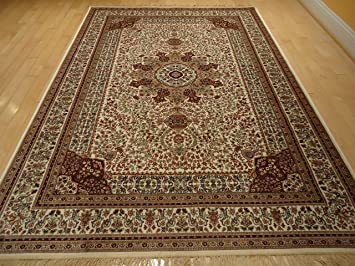 Silk Ivory Rugs Persian Tabriz Rug 7x10 Living Room Traditional Luxury 6x9 Area