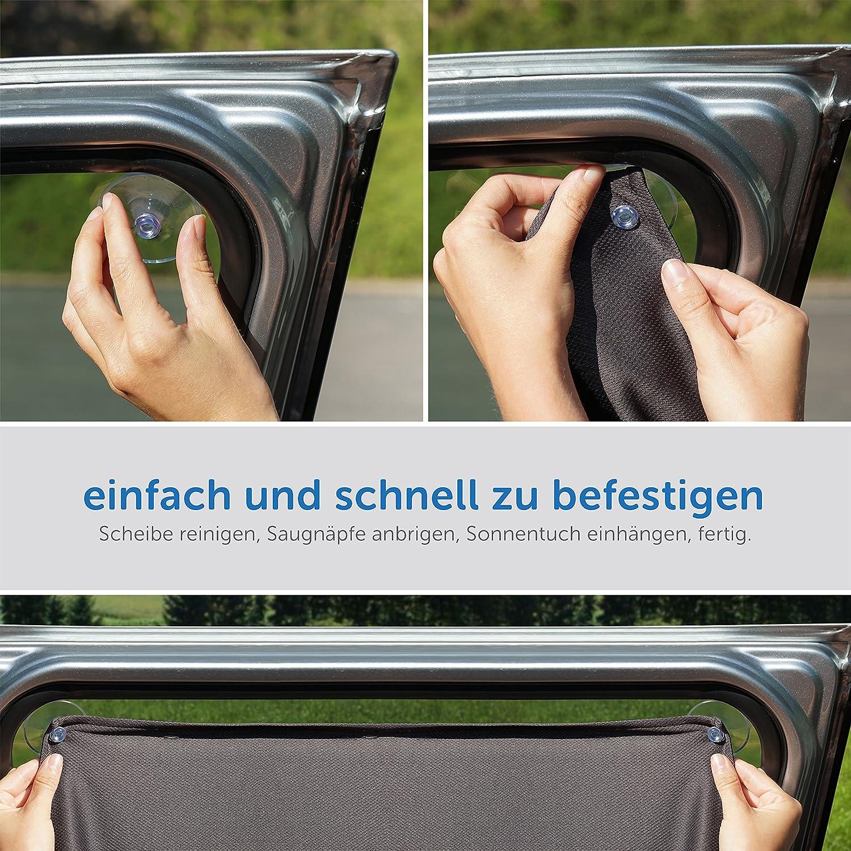 Zamboo Protector solar Coche beb/és // Parasol infantil lateral de tela Protecci/ón universal contra los rayos UV color gris Fijaci/ón con ventosas en la ventanilla