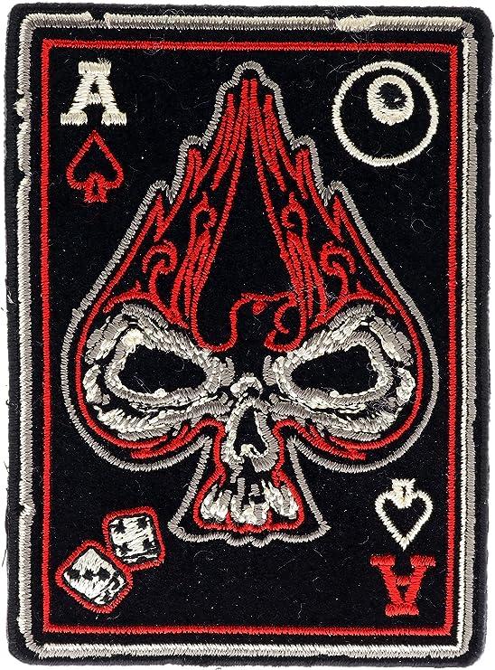ACE OF SPADES parche de calavera en llamas juego de cartas ...