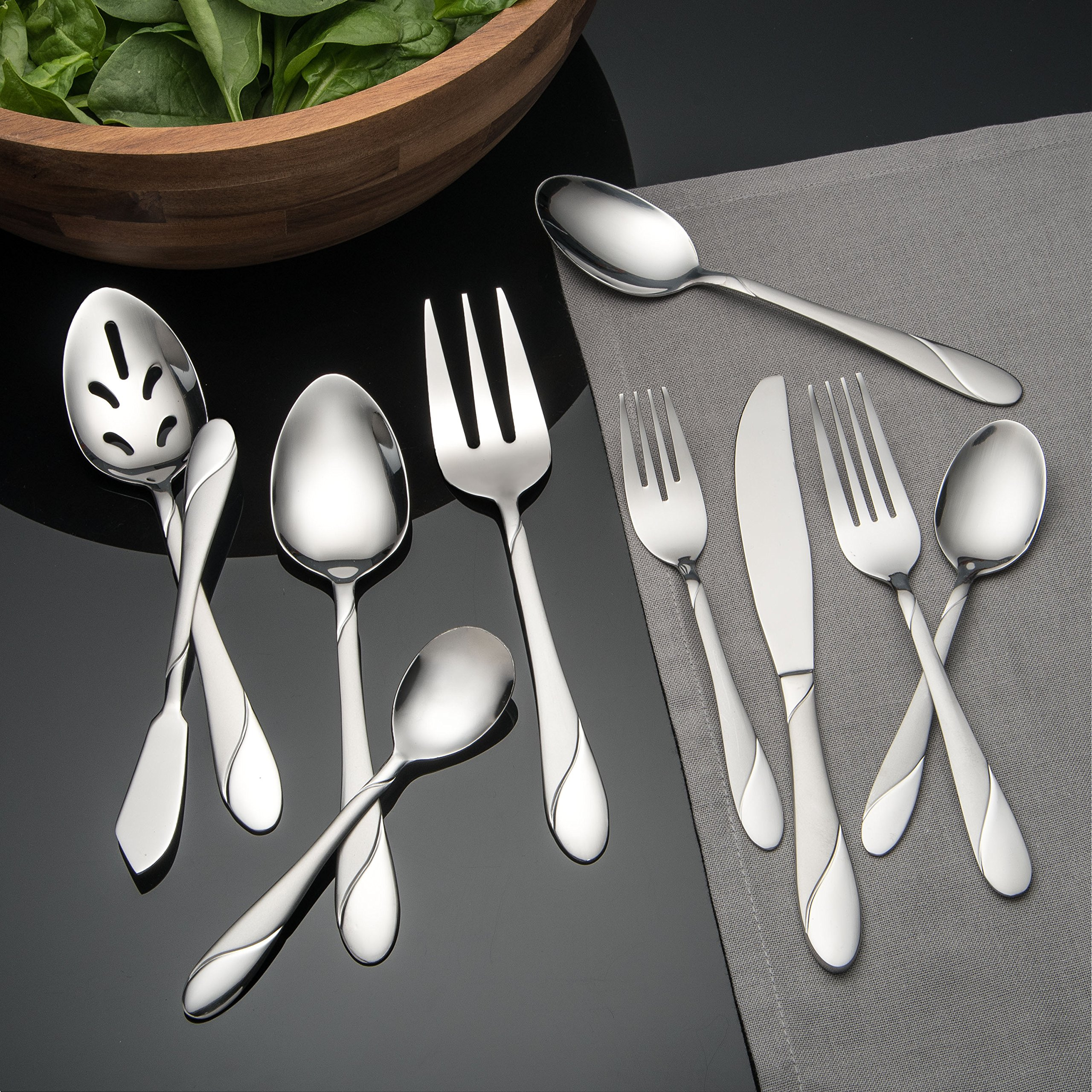 Cambridge Silversmiths Swirl Sand 89-Piece Flatware Set