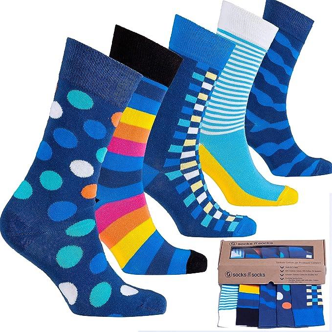 socks n socks-Hombre de 5 pares de lujo Divertido algodón Colorido Guay Vestido Calcetines Caja de regalo: Amazon.es: Ropa y accesorios