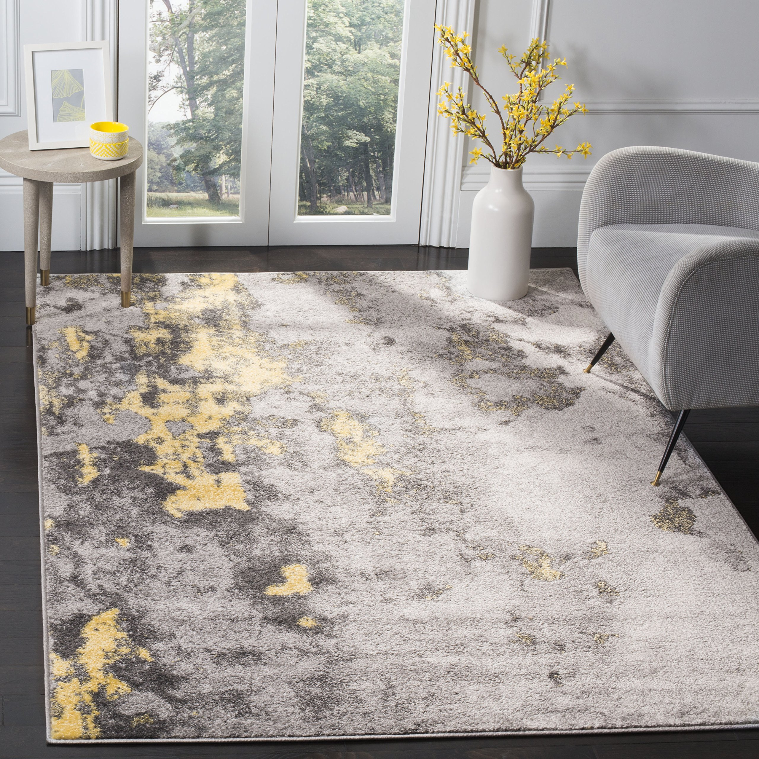 Safavieh Adirondack Collection ADR134H Grey and Yellow Modern Abstract Distressed Area Rug (6' Square)