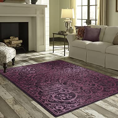Maples Rugs Pelham 5 x 7 Large Area Rugs [Made in USA] for Living, Bedroom, and Dining Room, Wineberry Red