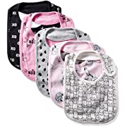 Rosie Pope Baby 5 Pack Bibs, Pink Meow, One Size