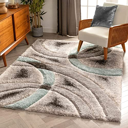 Well Woven Olly Light Blue Geometric Stripes Thick Soft Plush 3D Textured Shag Area Rug 8×10 7'10″ x 9'10″
