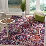 "Safavieh Monaco Collection MNC224D Modern Geometric Colorful Pink and Multi Distressed Area Rug (4' x 5'7"")"