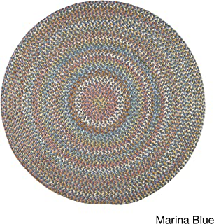 product image for Rhody Rug Cozy Cove Indoor/Outdoor Braided Rug Marina Blue 8' Round Border 0.25-0.5 inch Antimicrobial, Stain Resistant 8' Round Outdoor, Indoor