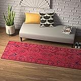 Amazon Brand – Rivet Pink Global Floral Wool Rug, 2'8'' x 8', Pink