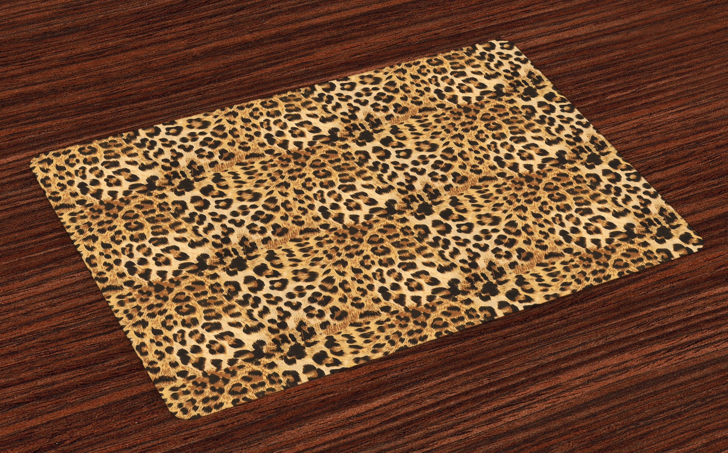 Ambesonne Brown Place Mats Set of 4, Leopard Print Animal Skin Digital Printed Wild African Safari Themed Spotted Pattern Art, Washable Fabric Placemats for Dining Room Kitchen Table Decor, Brown