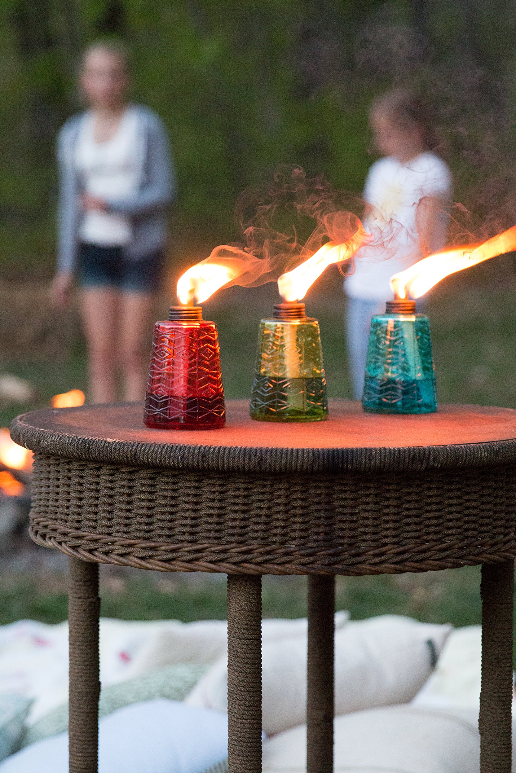 TIKI 6-Inch Molded Glass Table Torch, Red, Green & Blue (Set of 3) by Tiki (Image #4)