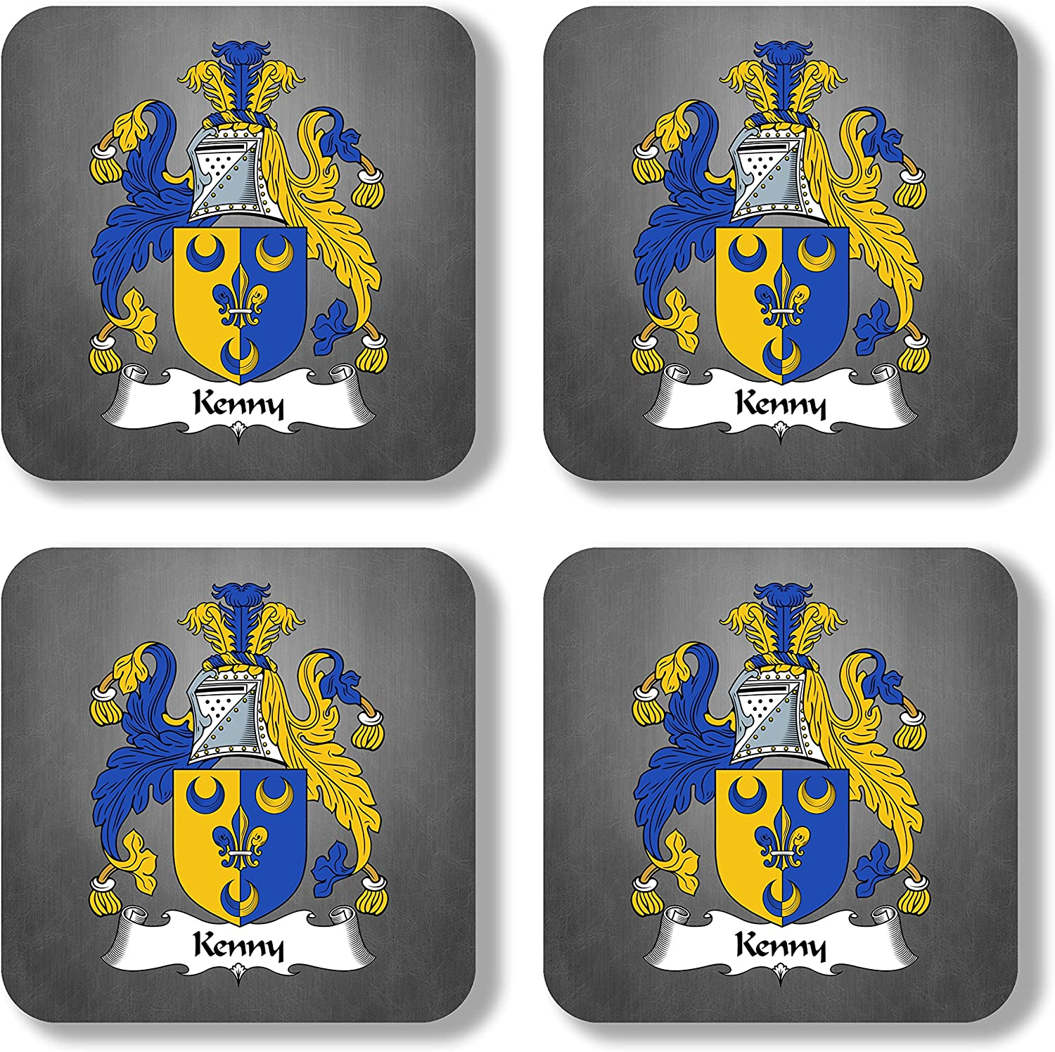 Kenny Coat of Arms/Family Crest Coaster Set, by Carpe Diem Designs – Made in the U.S.A.