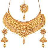I Jewels Choker Style Gold Plated Jewellery Set for Women (M4069FL)
