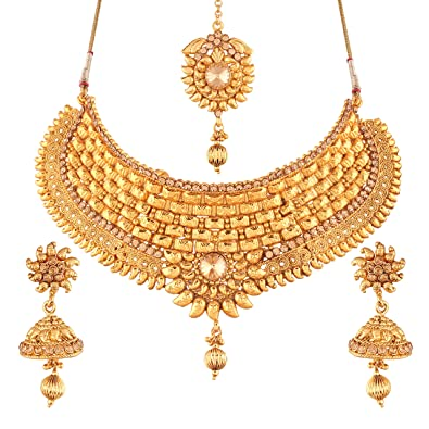 800e6abfc Buy I Jewels Choker Style Gold Plated Jewellery Set for Women (M4069FL)  Online at Low Prices in India | Amazon Jewellery Store - Amazon.in