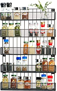 JackCubeDesign Wall Mount Spice Rack 5 Tier Kitchen Countertop Worktop Display Organizer Spice Bottles Holder Stand Shelves(17.6 x 4.1 x 26.7 inches) – :MK419A
