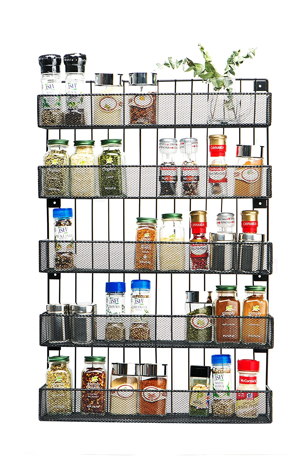 JackCubeDesign Wall Mount Spice Rack 5 tier Kitchen Countertop Worktop Display Organiser Spice Bottles Holder Stand Shelves(44.7 x 10.4 x 67.8 cm) – :MK419A