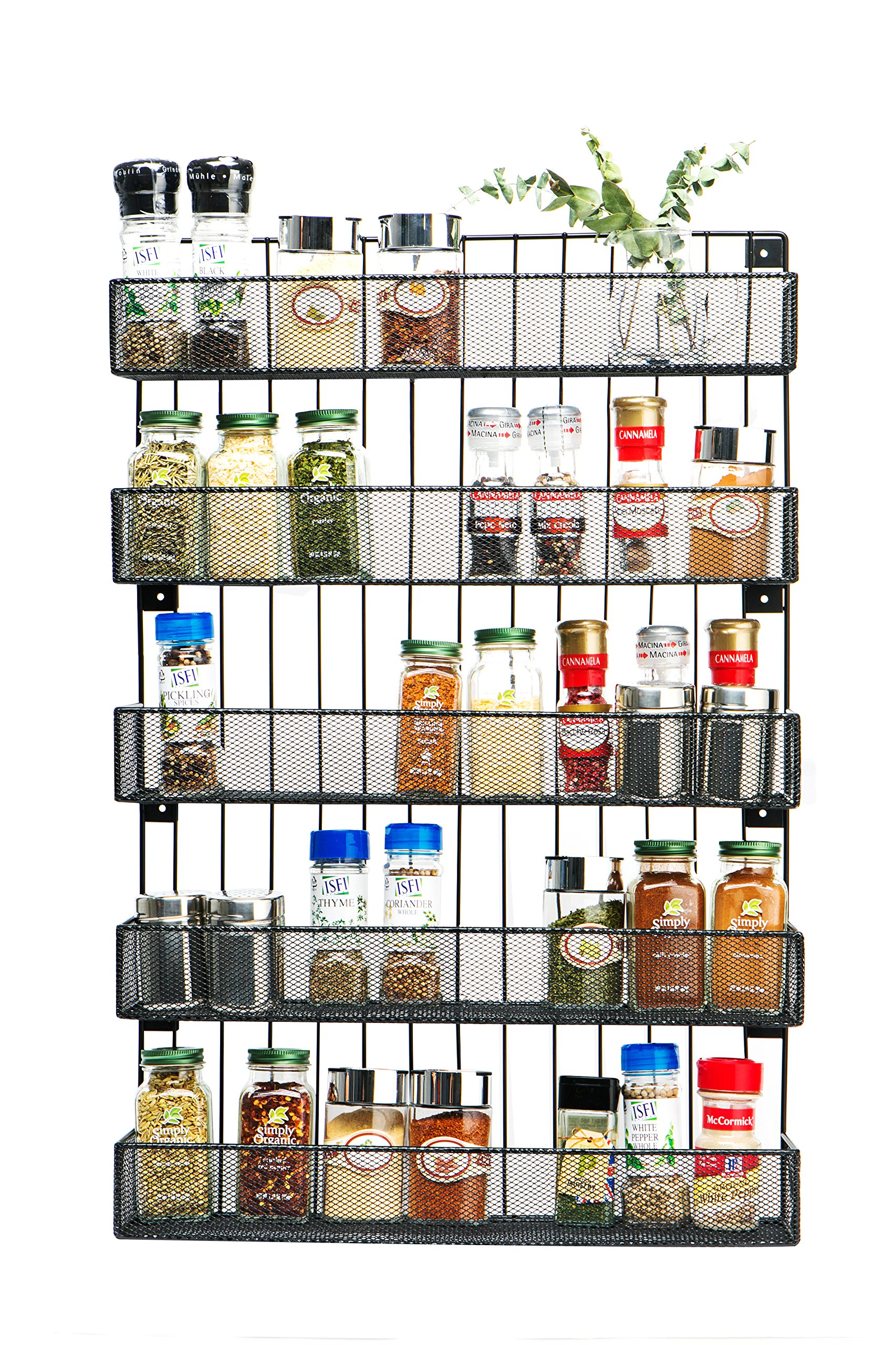 JackCubeDesign Wall Mount Spice Rack 5 Tier Kitchen Countertop Worktop Display Organizer Spice Bottles Holder Stand Shelves(17.6 x 4.1 x 26.7 inches) - :MK419A by JackCubeDesign
