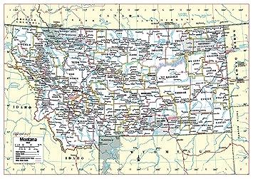Amazon.com : Cool Owl Maps Montana State Wall Map Poster ...