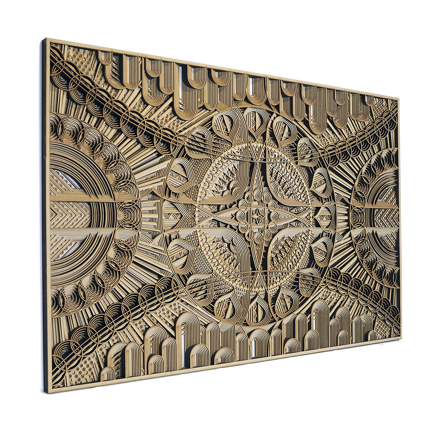 Amazon Com Stereowood Trace Multi Layer Wooden Wall Art