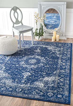 Traditional Persian Vintage Fancy Dark Blue Area Rugs, 4 Feet By 6 Feet (4
