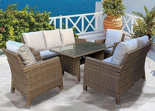 Avanti Trendstore - Conjunto de muebles de ratán sintético para jardín: 2 sillones, un sofá de 2 plazas y un sofá de 3 plazas (mesa baja no incluida): Amazon.es: Hogar