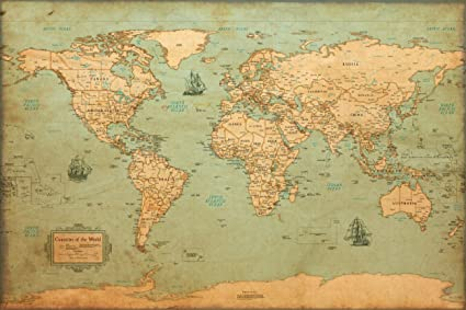 Vintage Looking World Map.Amazon Com World Map Vintage Style Poster 24x36 Posters Prints