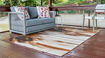 Unique Loom Outdoor Modern Collection Over-Dyed Rustic Abstract Transitional Indoor and Outdoor Flatweave Brown Area Rug (2 2 x 3 0)
