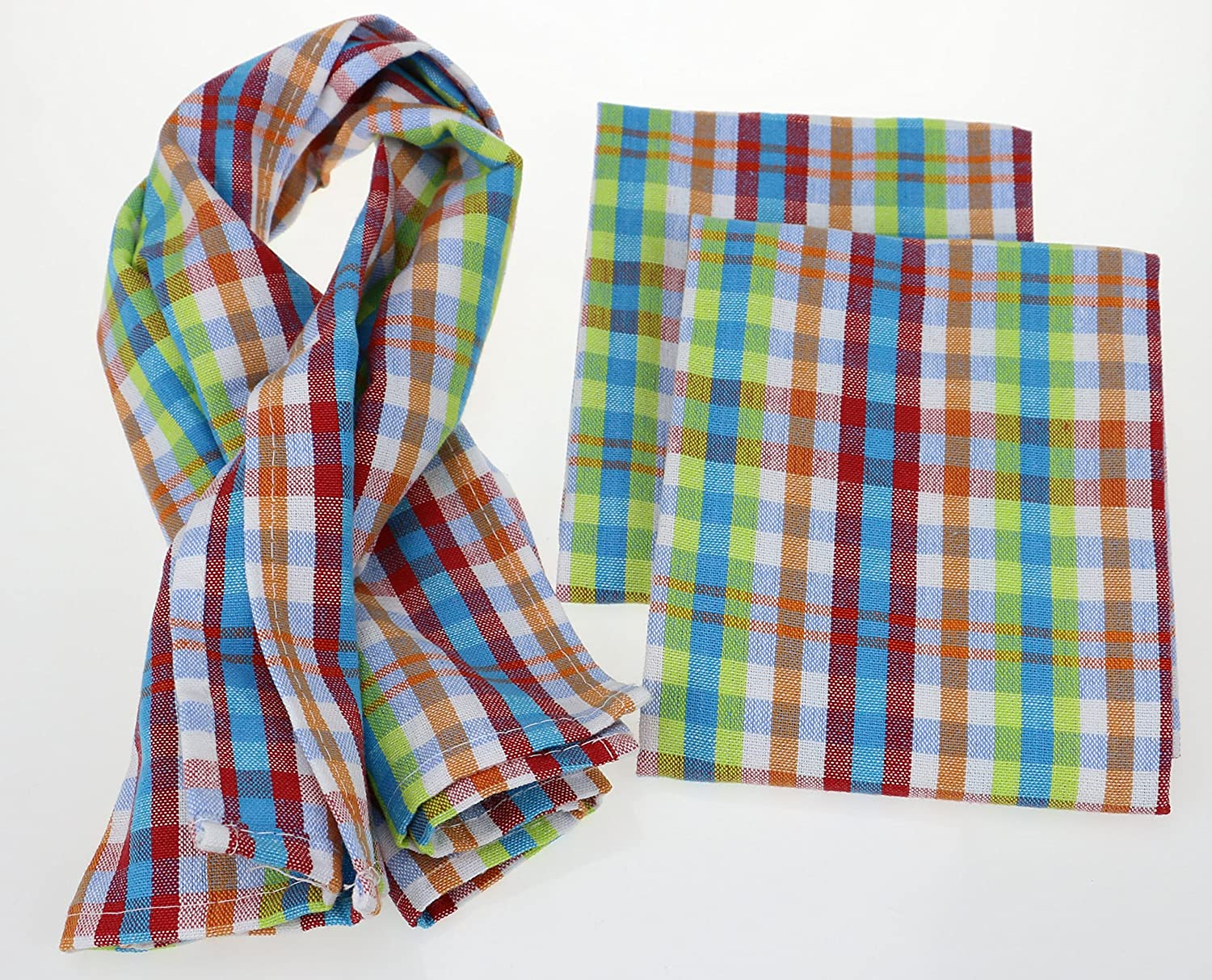 100/% Natural Cotton Multi Plaid 3 Pack Dish Cloth 16 x 24 Inch The Best Tea Towels Machine Washable Absorbent and Lint-Free Classic Kitchen Towels