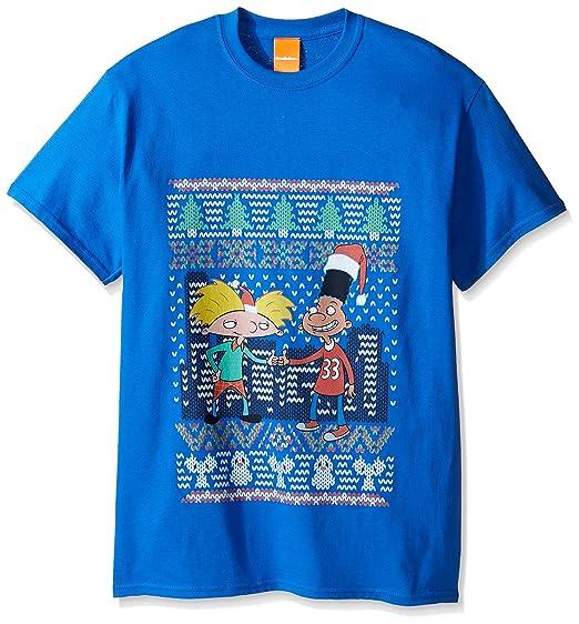 nickelodeon mens hey arnold ugly christmas t shirt royal x large - Ugly Christmas Tee Shirts