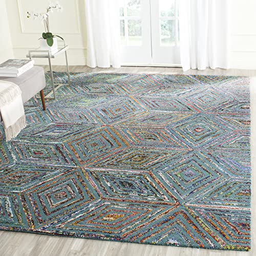Safavieh Nantucket Collection NAN607A Handmade Abstract Blue Cotton Premium Area Rug 4 x 6