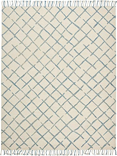 Amazon Brand Stone Beam Tassled Criss-Cross Wool Area Rug