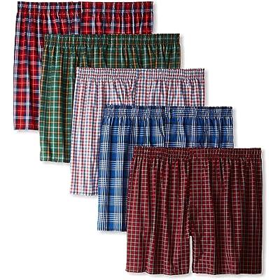 Hanes Ultimate Men's Premium 5-Pack Cotton Plush Waistband Boxers, Tartan Plaid, X-Large at Men's Clothing store: Boxer Shorts