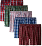 Hanes Ultimate Men's Premium 5-Pack Cotton Plush Waistband Boxers, Tartan Plaid, Large