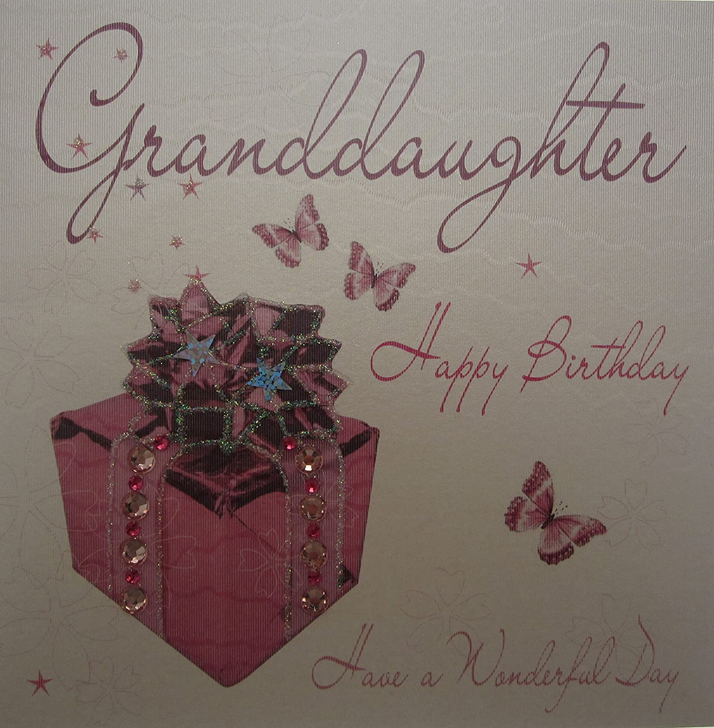WHITE COTTON CARDS Granddaughter Happy Handmade Birthday Card Pink Present Amazoncouk Kitchen Home
