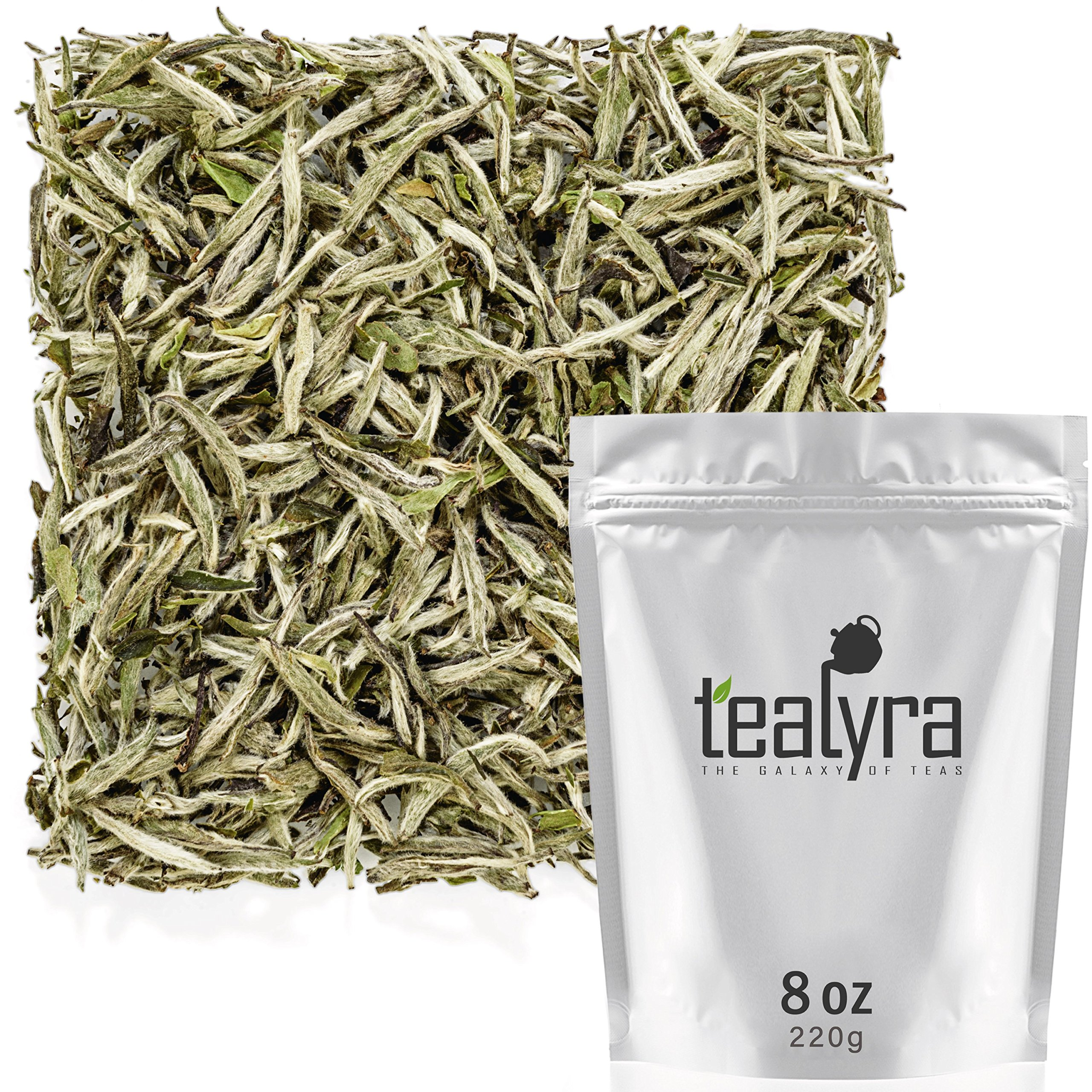 Tealyra - Premium White Silver Needle Tea - Bai Hao Yinzhen - Organically Grown in Fujian China - Superior Chinese Silver Tip White Tea - Loose Leaf Tea - Caffeine Level Low - 220g (8-ounce) by Tealyra