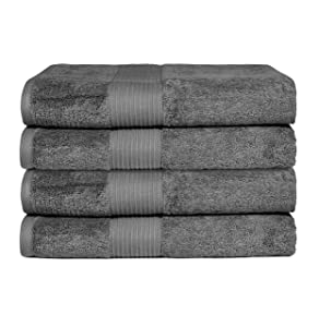 """Bliss Luxury Combed Cotton Bath Towel - 34"""" x 56"""" Extra Large Premium Quality Bath Sheet - 650 GSM - Soft, Absorbent (Grey, 4 Pack)"""