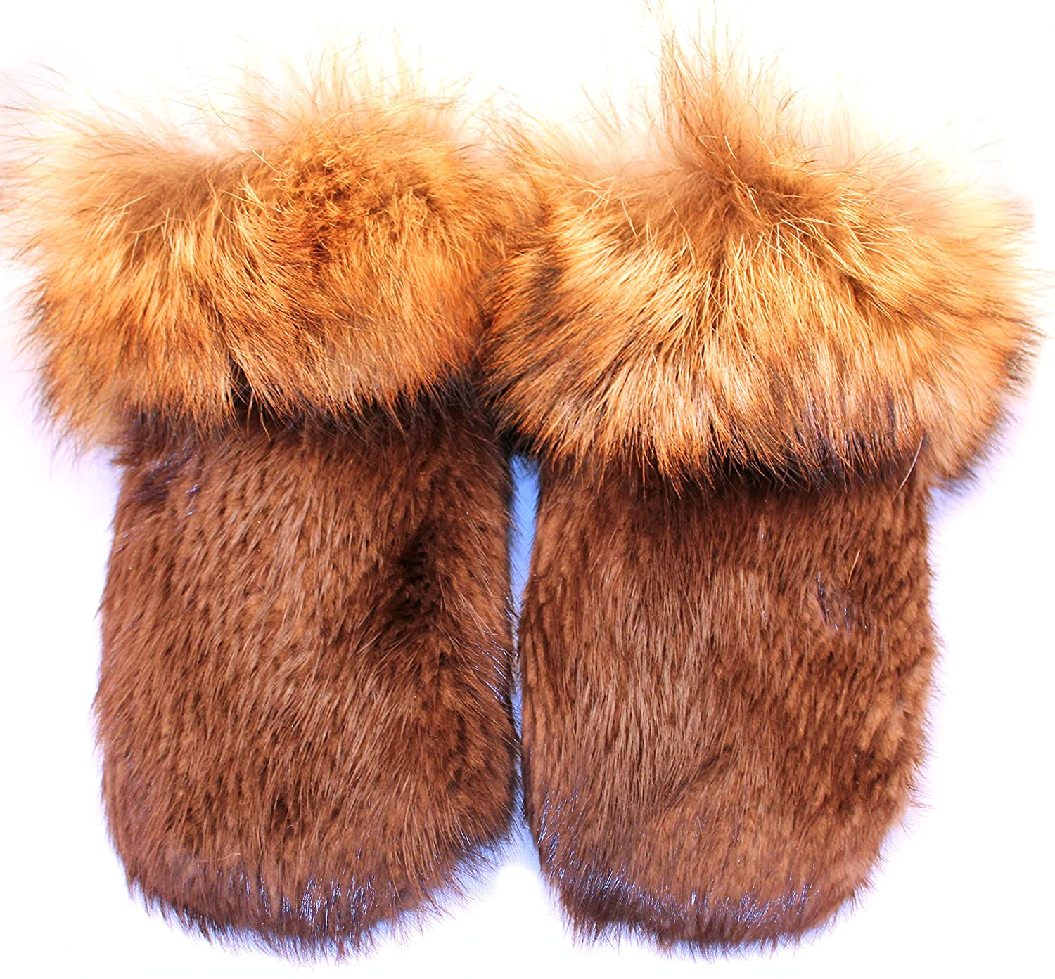 leather Mens short mittens for winter real beaver and coyote fur XL
