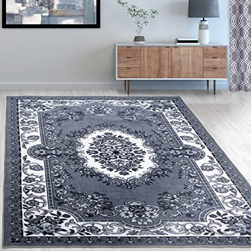 Superior s Designer Non-slip Seraphina Area Rug Digitally Printed, Low Maintenance, Affordable and Fashionable, Black White – 8 x 10
