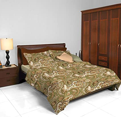 Cannon Traditional Home Printed Satin Double Bedsheet   100% Cotton Satin    2.74m X 2.74